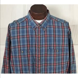 Vintage Indigo Plaid Long Sleeve Shirt Size XXL